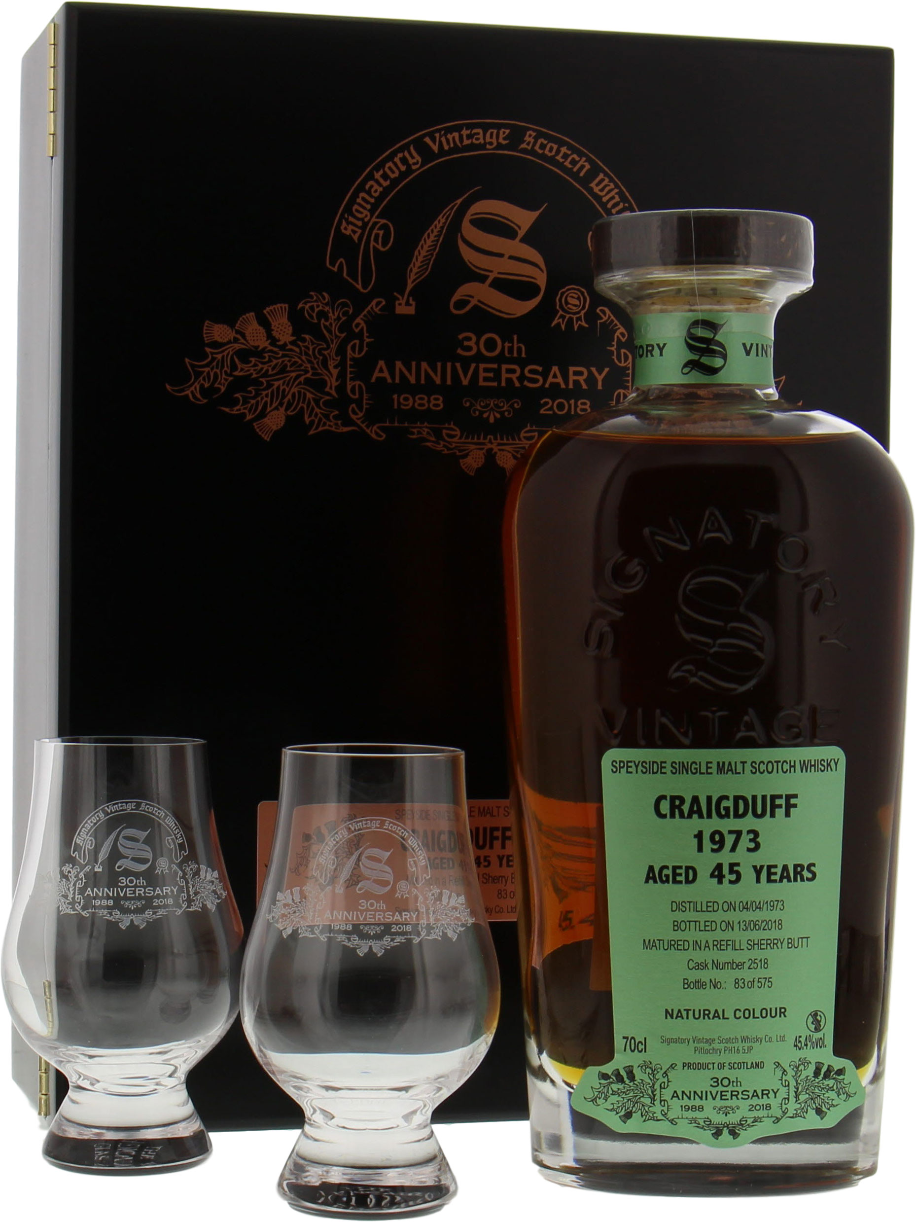 Craigduff - 45 Years Old Signatory 30th Anniversary Cask 2518 45.4% 1973