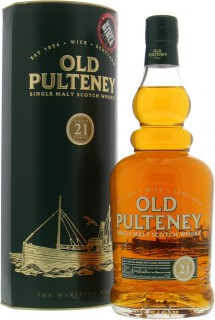 Old Pulteney - 21 Years Old glass print label with age statement in circle 46%