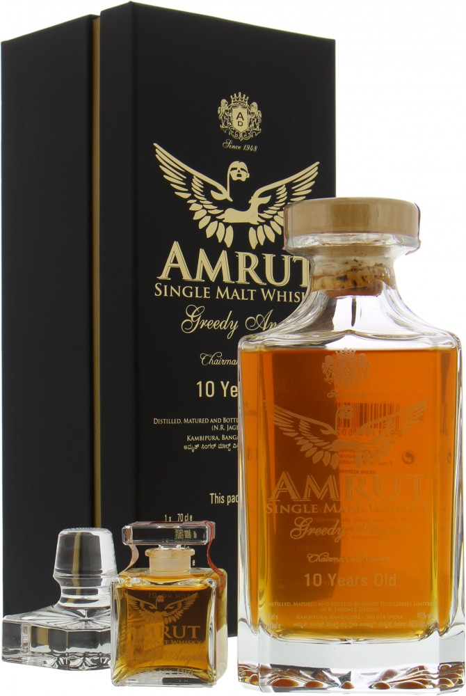 Amrut - 10 Years Old Greedy Angels Crystal decanter Batch 1 46% NV