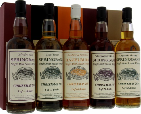 Springbank - Christmas Set of 5 bottles Editions:2010, 2011, 2012, 2013 & 2014 NV
